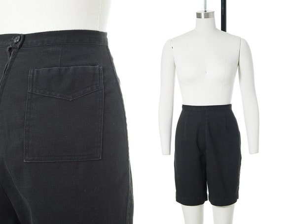Vintage 1950s Shorts | 50s CATALINA Black Cotton H