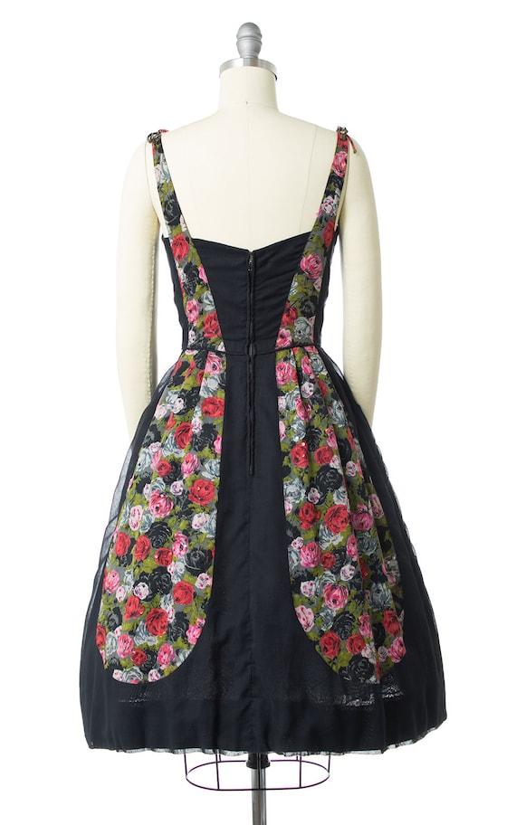 Vintage 1950s Dress | 50s Rose Floral Printed Cot… - image 4