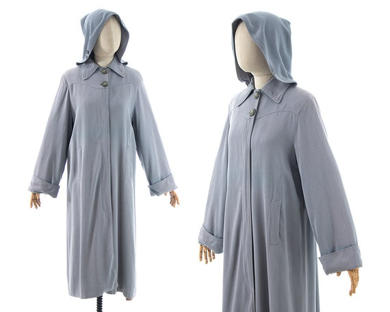 Vintage 1940s Raincoat | 40s Removable Hooded Grey