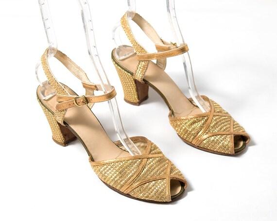 Vintage 1930s High Heels | 30s Metallic Gold Mesh
