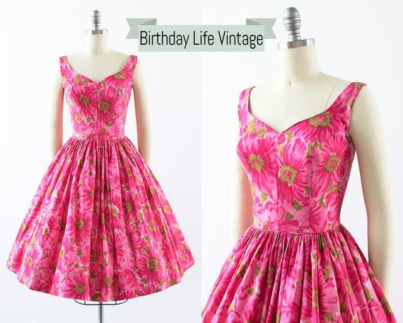small 50s Floral Chevron Striped Cotton Full Skirt Day Dress Vintage 1950s Sundress