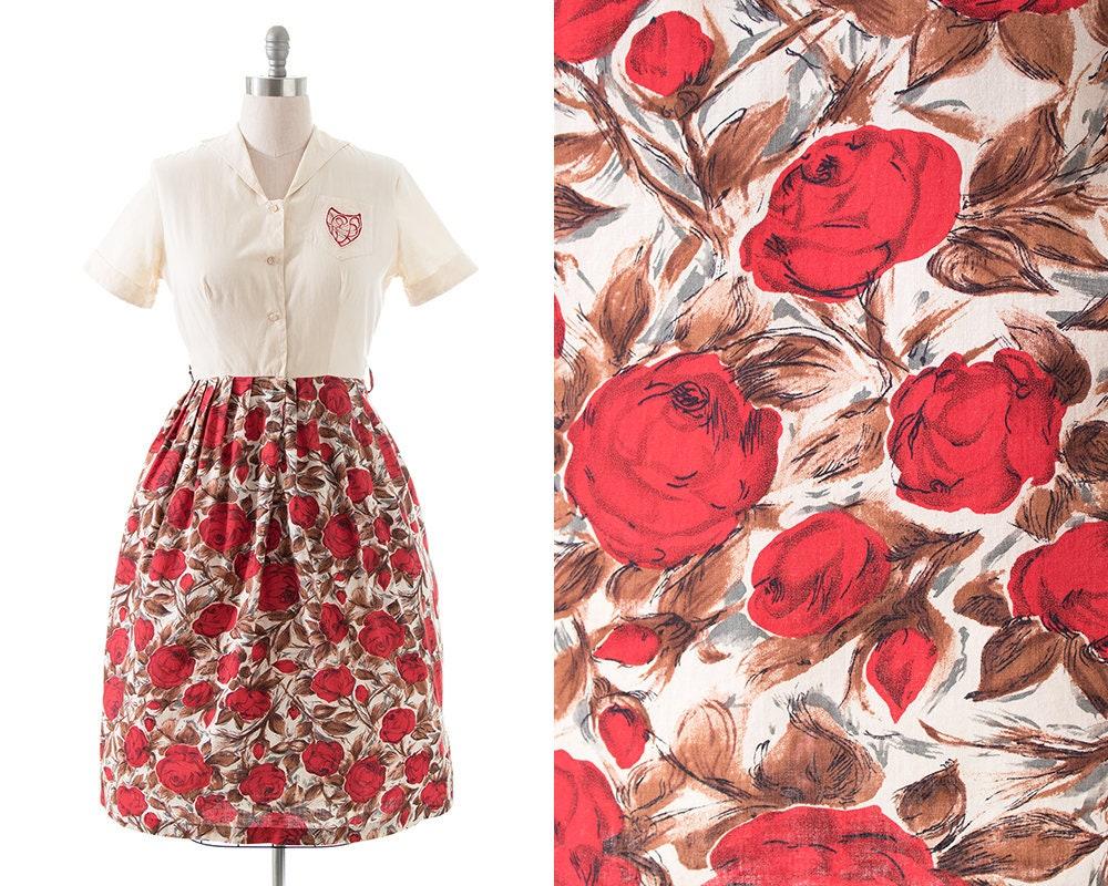 1950s Hats: Pillbox, Fascinator, Wedding, Sun Hats Vintage 1950S Shirt Dress  50S Rose Floral Printed Cotton Shirtwaist Day  Medium $20.00 AT vintagedancer.com