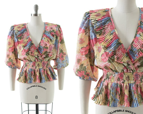 Vintage 1980s Blouse   80s Floral Pleated Ruffles