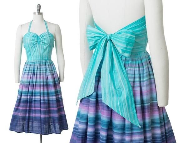 Vintage 1950s Dress | 50s Striped Cotton Sundress