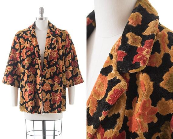 Vintage 1960s 1970s Swing Coat   60s 70s Dark Flor