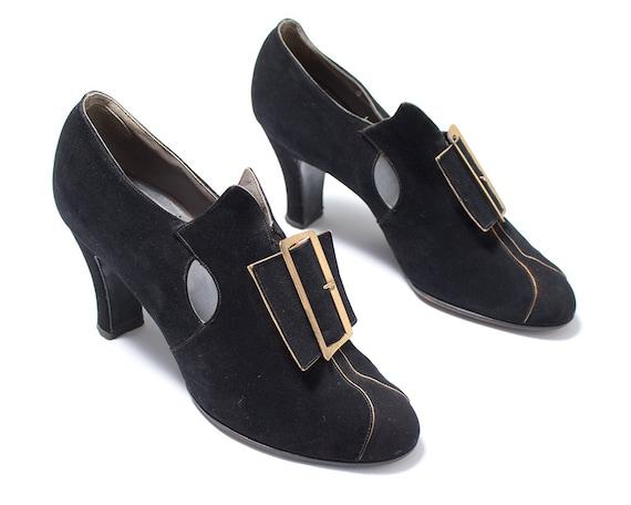 Vintage 1930s High Heels | 30s Black Suede Large B