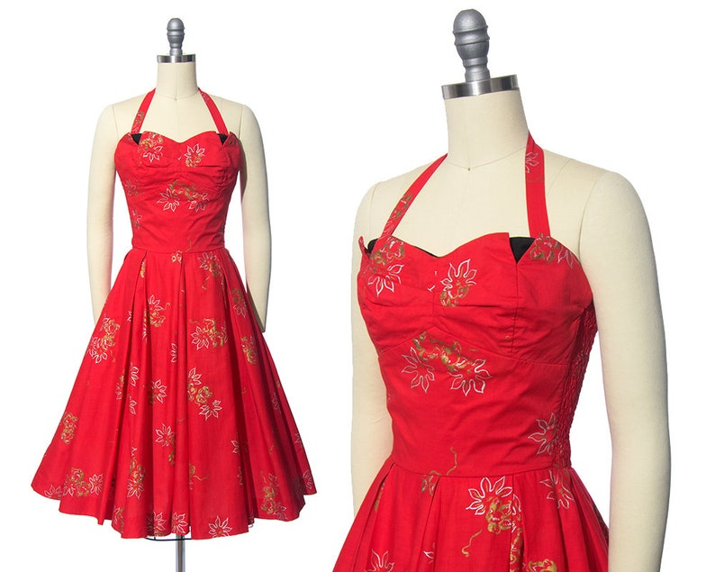 b73ddad3543 Vintage 1950s Dress 50s REEF Hawaiian Floral Print Cotton