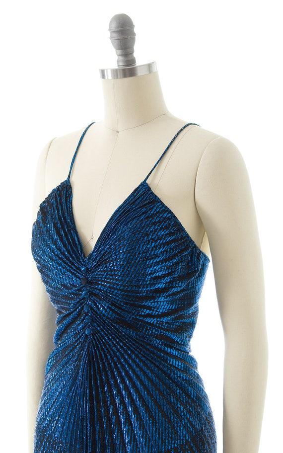 Vintage 1980s Party Dress   80s Metallic Blue Acc… - image 7