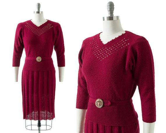 Vintage 1950s Knit Set   50s Burgundy Bouclé Wool