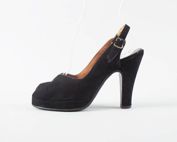fa775de5bffc4 Vintage 1940s Shoes | 40s Black Suede Peep Toe Platform High Heel Slingback  Pumps (womens size 6)