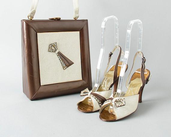 Vintage des années 1950 chaussures ensemble sac à à à main | des années 50 GAINSBOROUGH Floral perles crème brun Slingback talons aiguilles assortis boîte de bourse en cuir (taille 9) | Aspect Attrayant  a9b481