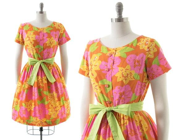Vintage 1950s Dress | 50s MODE O' DAY Lime Floral