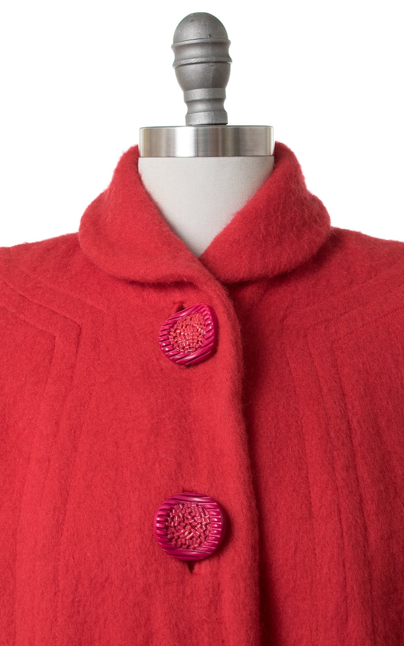 smallmedium 50s Red Wool Swing Coat with Candy Buttons Vintage 1950s Coat