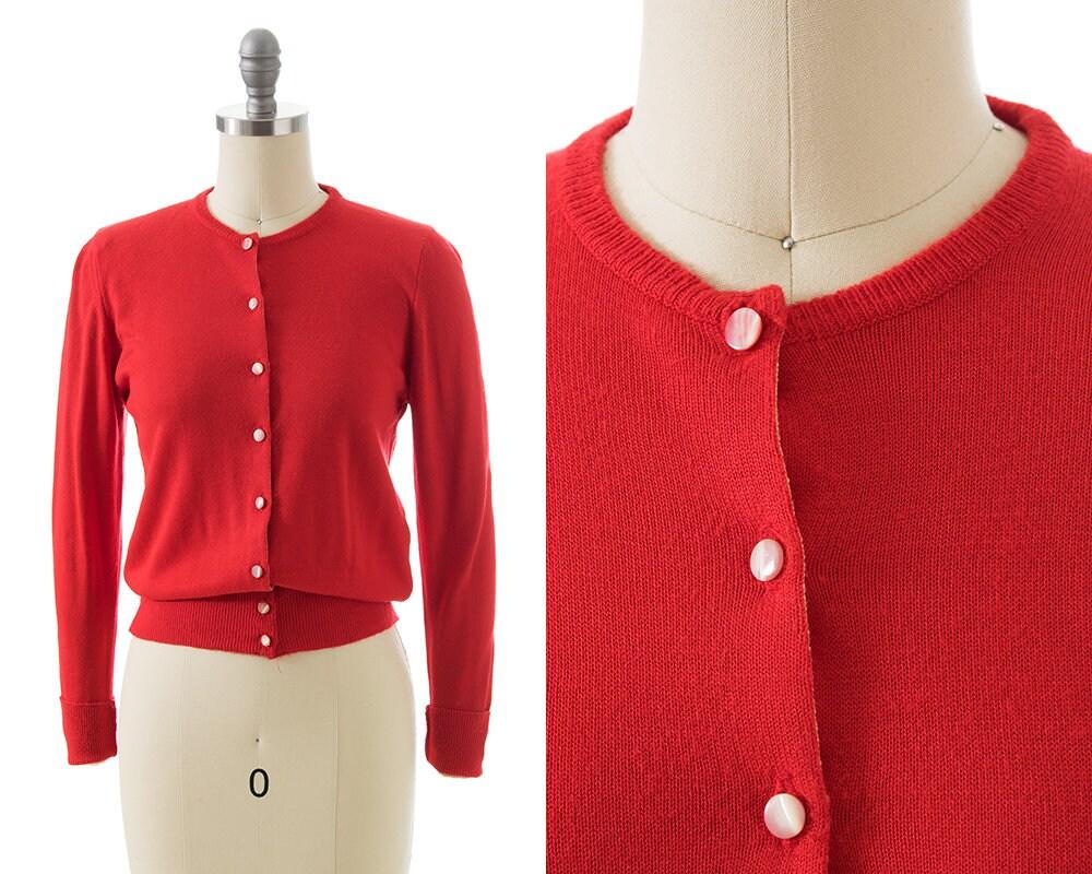 1950s Hats: Pillbox, Fascinator, Wedding, Sun Hats Vintage 1950S Cardigan  50S Red Knit Acrylic Long Sleeve Sweater Top  xsSmall $20.00 AT vintagedancer.com