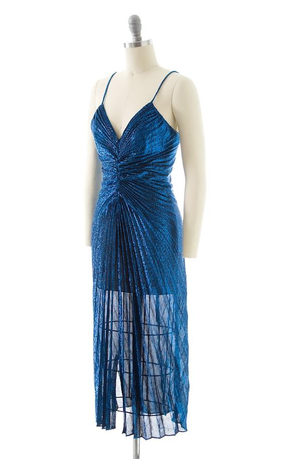Vintage 1980s Party Dress   80s NEW LEAF Metallic… - image 5