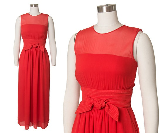 Vintage 1980s Jumpsuit | 80s Red Silk Chiffon Wide