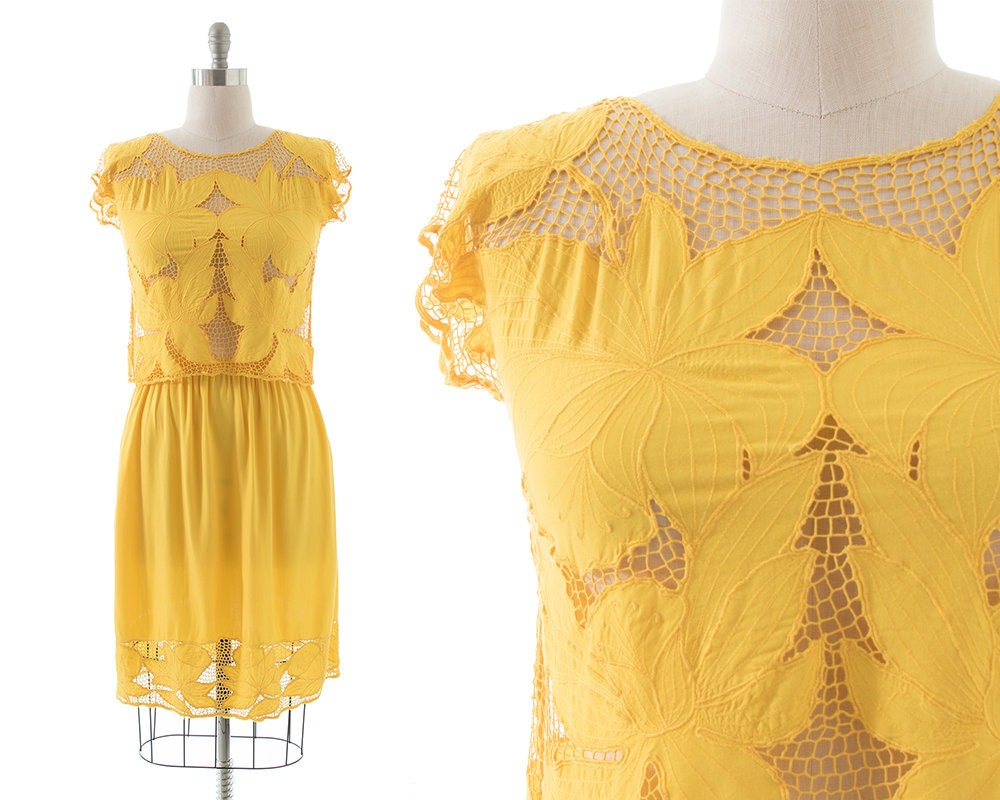 80s Dresses | Casual to Party Dresses Vintage 1980S Skirt Set  80S Canary Yellow Floral Cutwork Rayon Blouse Top  Dress  SmallMedium $16.00 AT vintagedancer.com