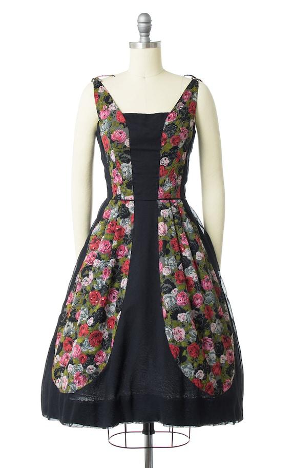 Vintage 1950s Dress | 50s Rose Floral Printed Cot… - image 2