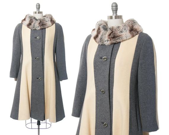 Vintage 1960s Coat | 60s LILLI ANN Fur Collar Stri