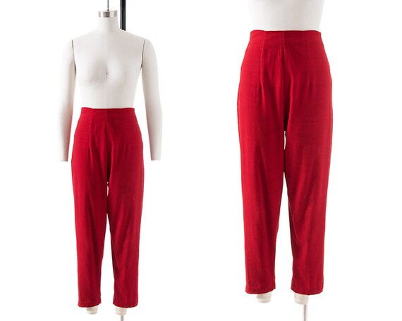 Vintage 1950s Cigarette Pants | 50s Red Velvet Hig