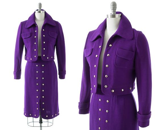 Vintage 1970s Skirt Set   70s Brass Studded Knit P