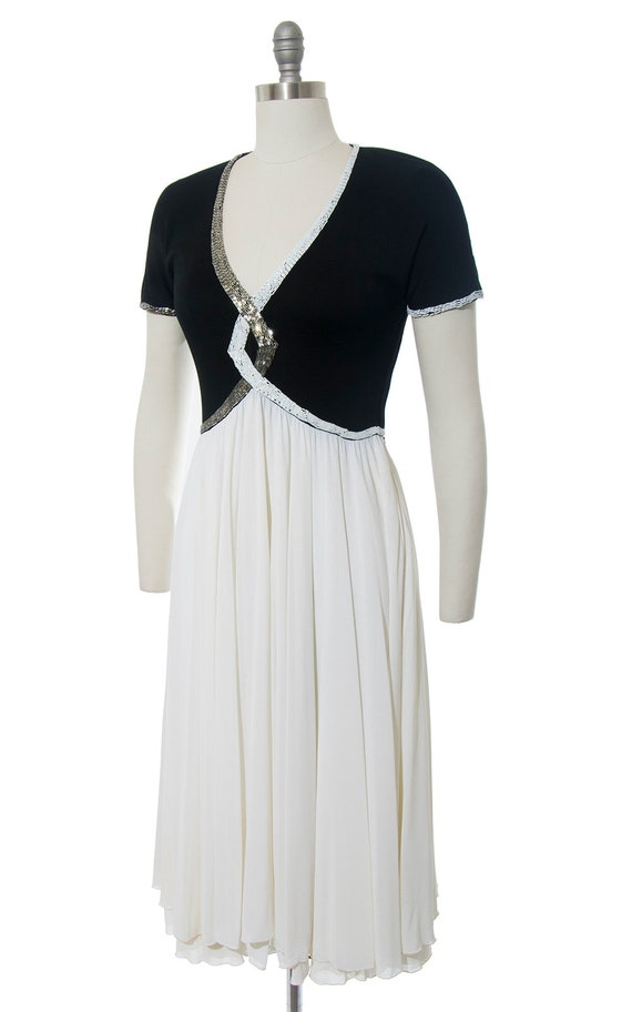 FINAL SALE || Vintage 1940s Style Dress | Beaded … - image 3
