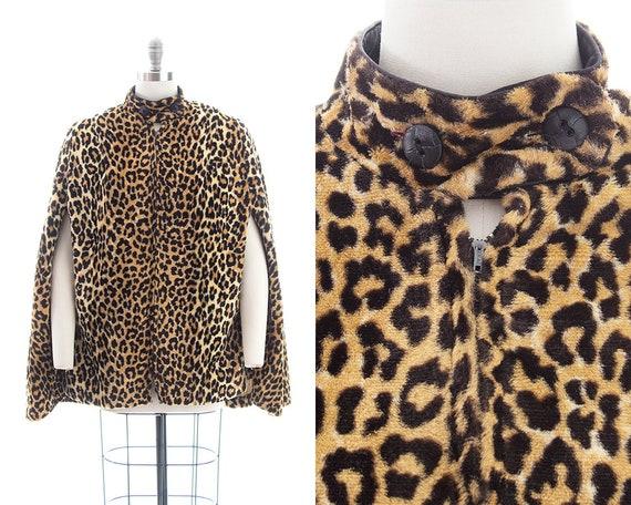 Vintage 1960s Cape | 60s Leopard Print Faux Fur Po