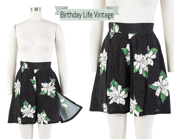 Vintage 1930s Style Shorts | 80s Black Floral Rayo