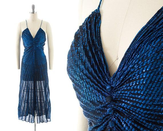 Vintage 1980s Party Dress   80s Metallic Blue Acc… - image 1