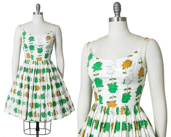 Vintage 1950s Dress | 50s Rose Floral Print Cotton