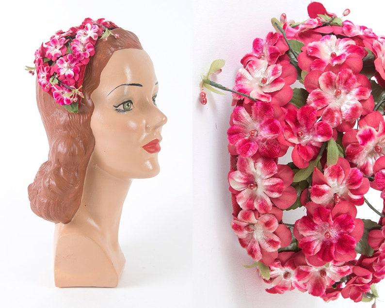 b3084c62cafa32 Vintage 1950s Hat 50s Pink Floral Juliet Cap Formal Cocktail   Etsy