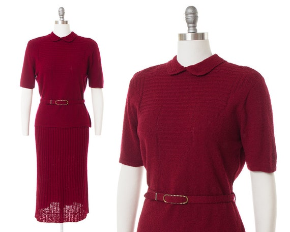 Vintage 1940s 1950s Knit Set | 40s 50s Burgundy Re