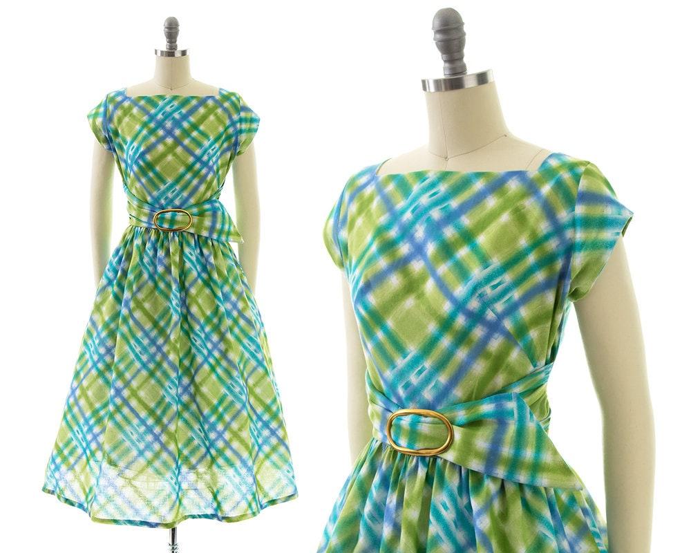 1950s Hats: Pillbox, Fascinator, Wedding, Sun Hats Vintage 1950S Dress  50S Plaid Tartan Cotton Lime Green Blue Belted Full Skirt Day  Small $20.00 AT vintagedancer.com