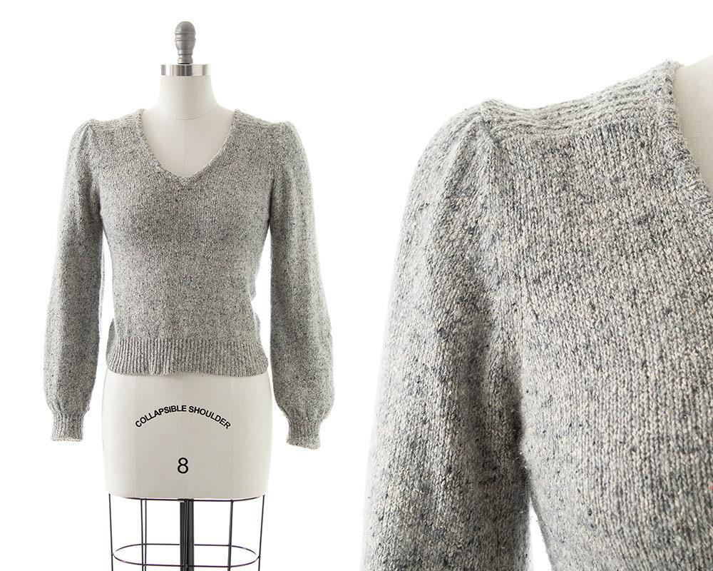 80s Sweatshirts, Sweaters, Vests | Women Vintage 1980S Sweater  80S Light Grey Silk Angora Knit Puff Shoulder Bishop Sleeve Pullover Top  SmallMedium $92.00 AT vintagedancer.com