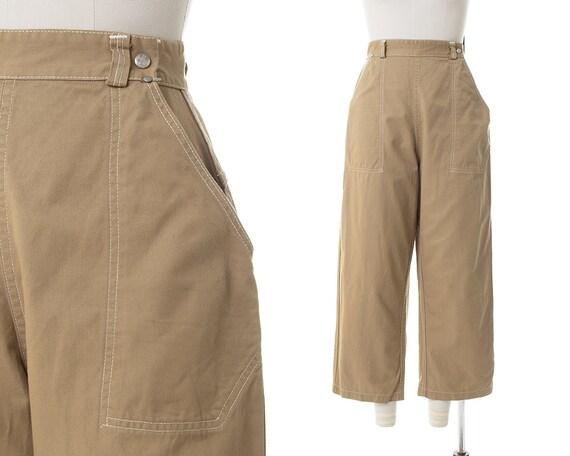 Vintage 1950s Capri Pants | 50s Khaki Brown Cotton