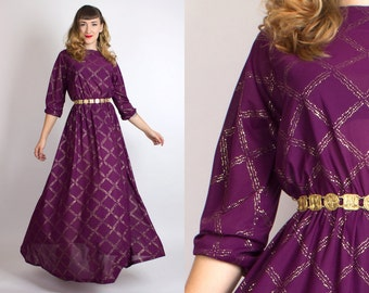 Vintage 70s SPARKLY GOLD GLITTER Sheer Disco Goddess Maxi Dress // 1970s Dark Purple Plum Full Skirt Holiday Party Glam Evening Gown (s/m/l)