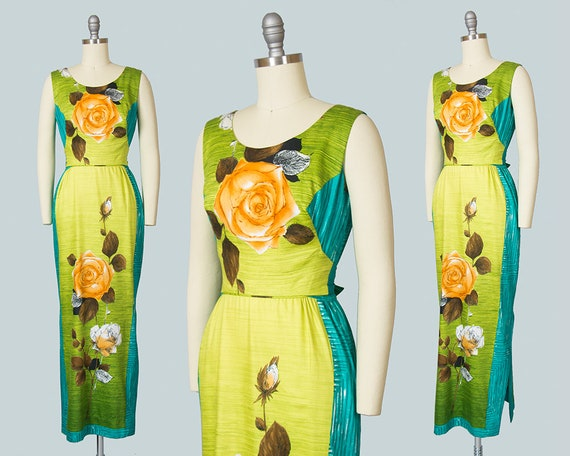 Vintage 1960s Dress   60s Hawaiian Rose Floral Cot
