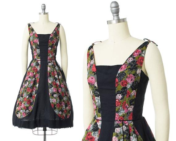 Vintage 1950s Dress | 50s Rose Floral Printed Cot… - image 1