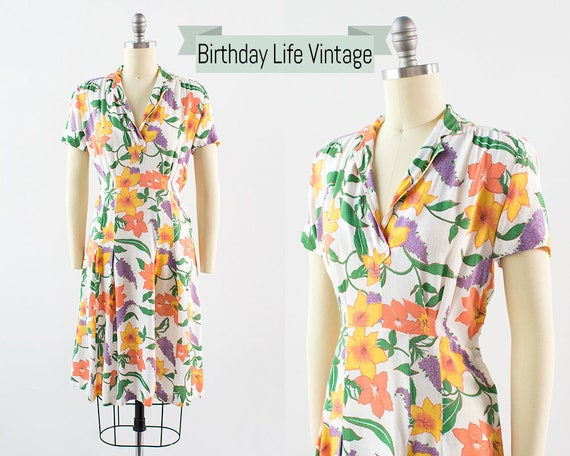 Vintage 1930s Dress | 30s Floral Print Cotton Line
