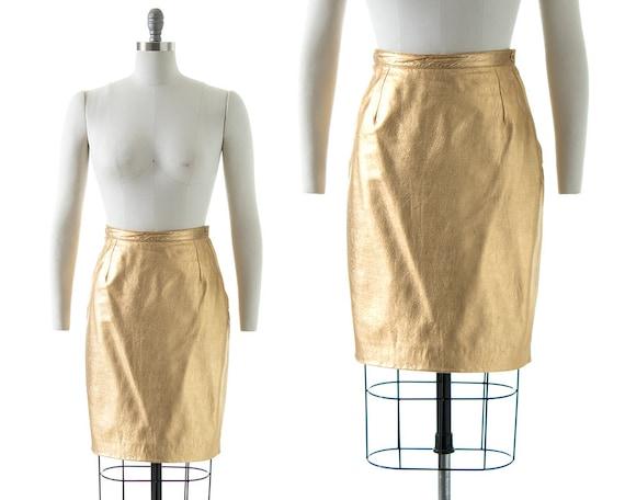 Vintage 1980s Skirt | 80s Metallic Gold Leather Bu