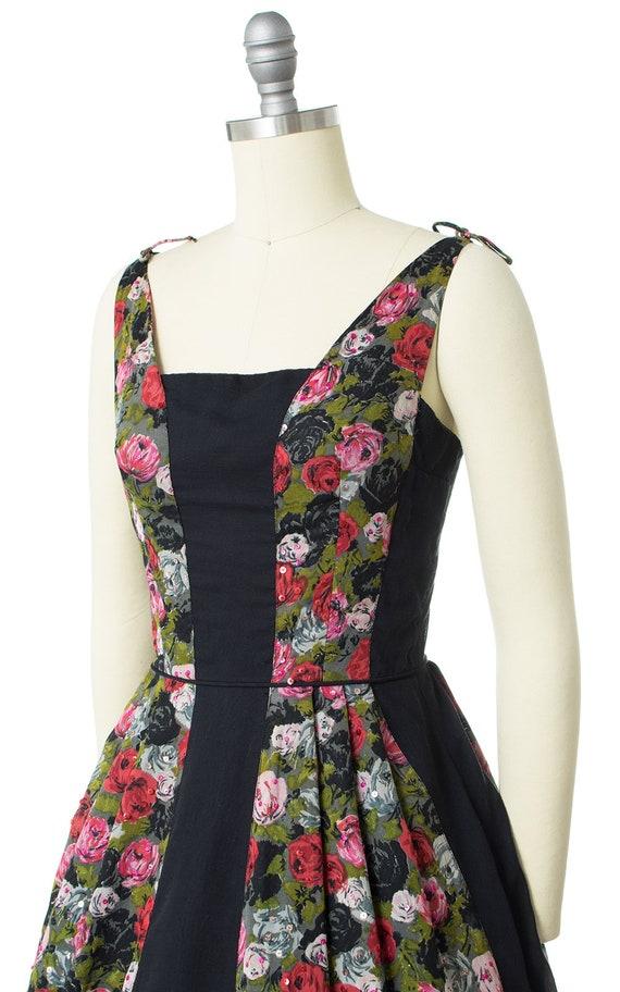 Vintage 1950s Dress | 50s Rose Floral Printed Cot… - image 5