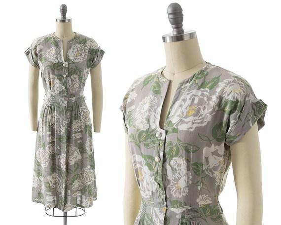 Sale VTG 1940s Day Dress Cotton Gray Seafoam Green Stripes Bows  S M Guernsey Pie