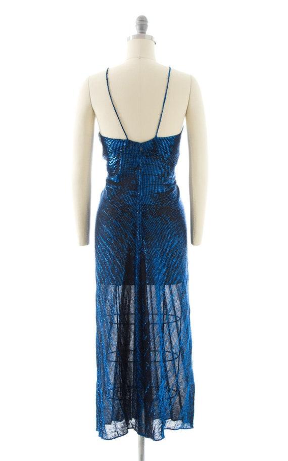 Vintage 1980s Party Dress   80s Metallic Blue Acc… - image 6