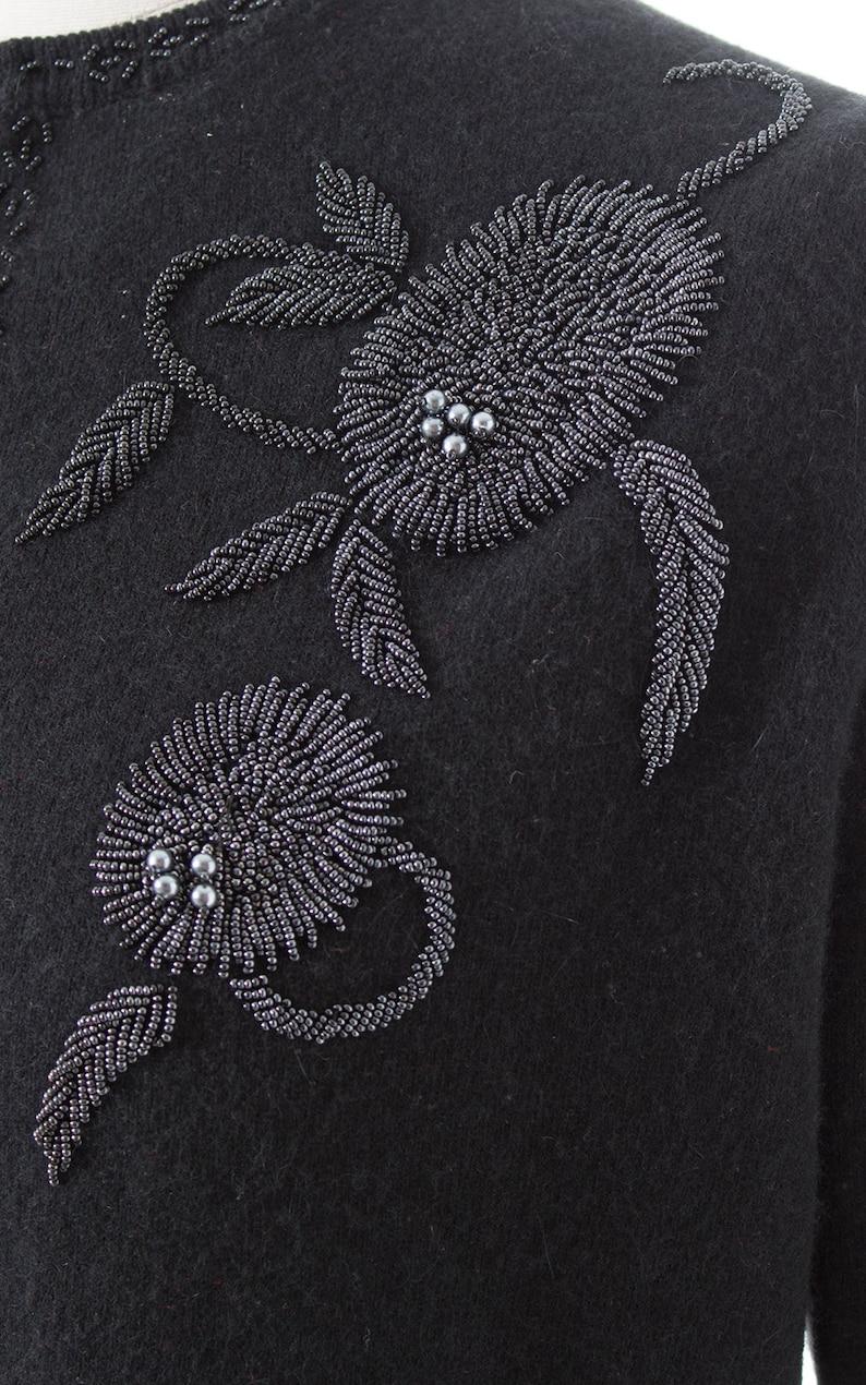 mediumlarge Vintage 1950s Cardigan 50s Floral Beaded Knit Black Wool Cropped Sweater