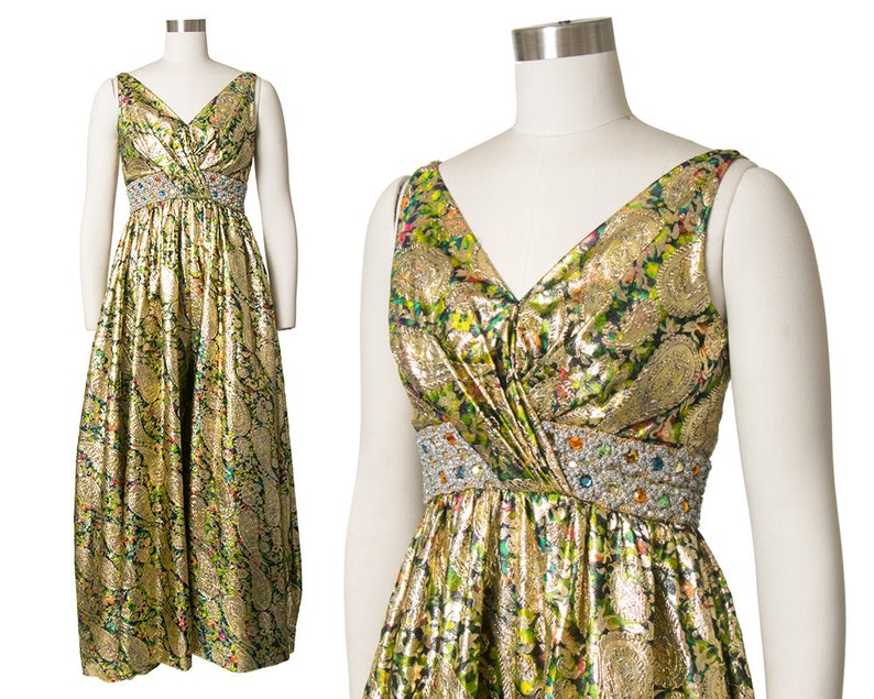 dd2cda3877 Vintage 1960s Palazzo Jumpsuit 60s Metallic Gold Paisley | Etsy