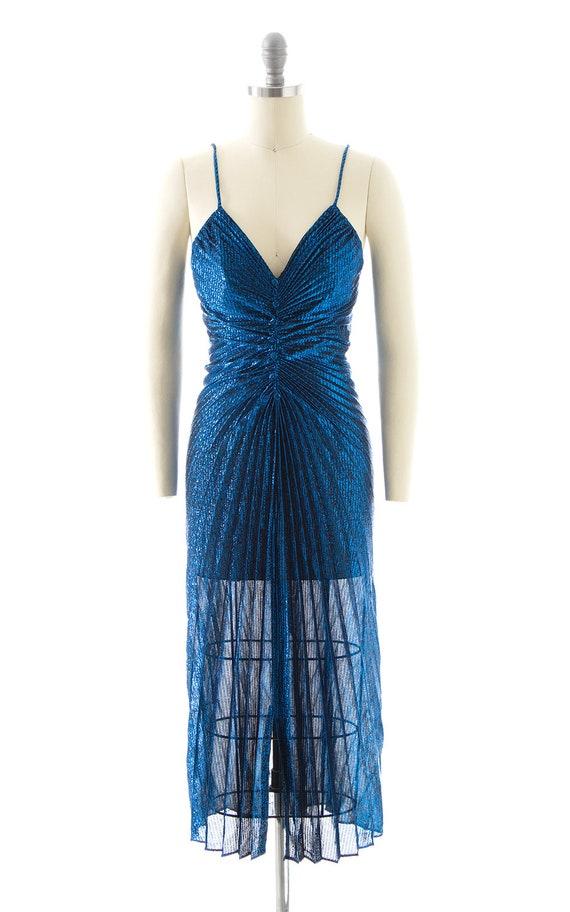 Vintage 1980s Party Dress   80s NEW LEAF Metallic… - image 4