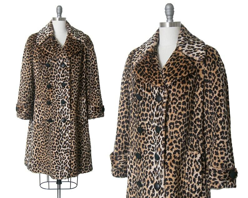 326d73be8157 Vintage 1960s Coat 60s Leopard Print Faux Fur Double | Etsy