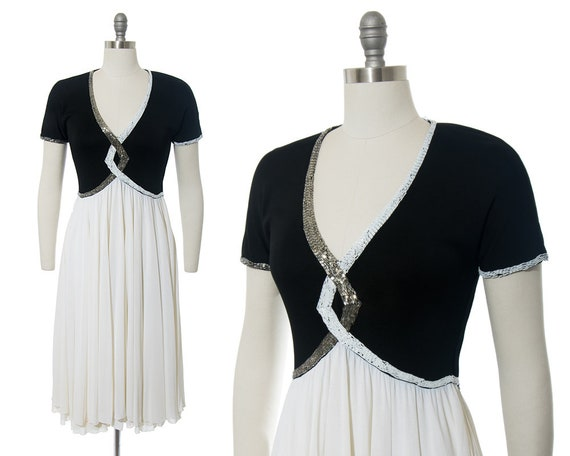 FINAL SALE || Vintage 1940s Style Dress | Beaded … - image 1