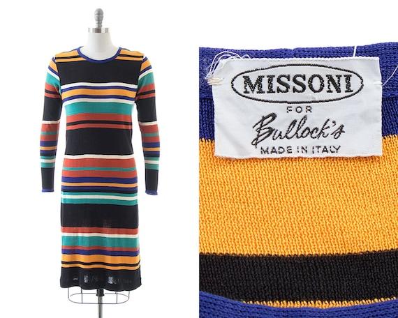 Vintage 1960s 1970s MISSONI Dress   60s 70s Stripe