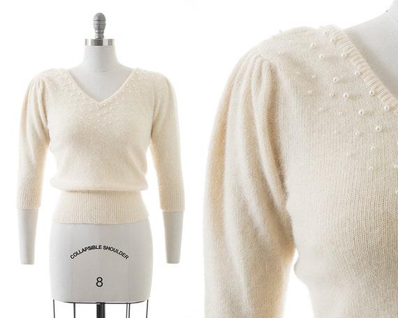 Vintage 1980s Sweater   80s Beaded Wool Angora Cre